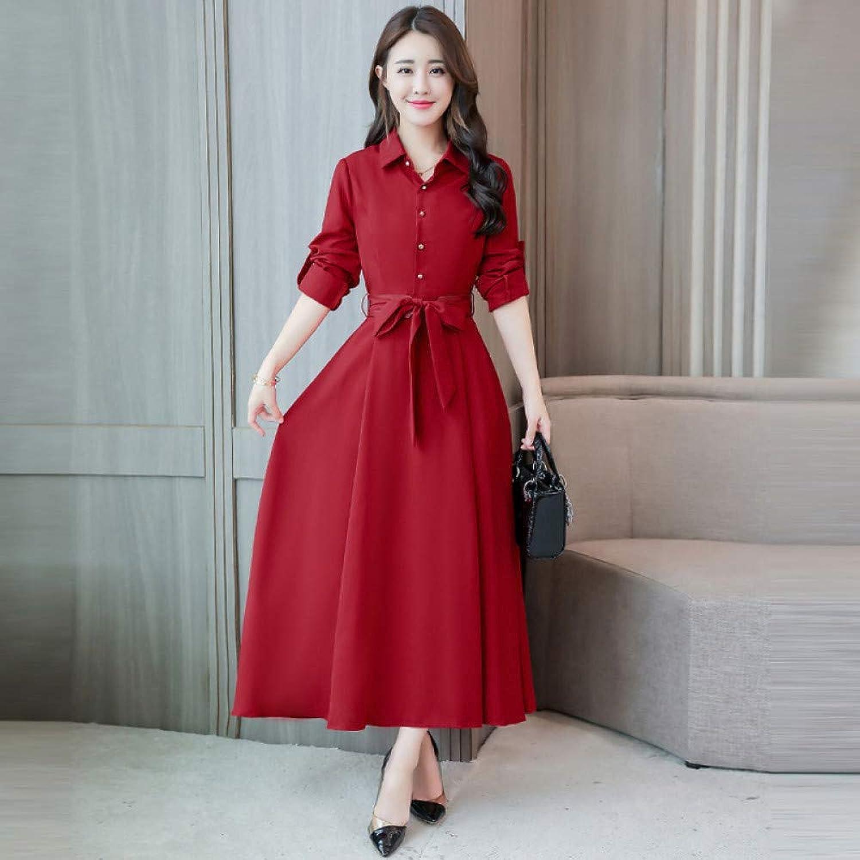 Cxlyq Dresses Solid color Long Skirt Autumn Slim Body Slim Long Section Long Sleeve Cotton Linen Strap Dress