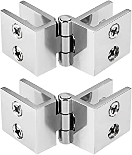 uxcell Glass Door Hinge - 180 Degree Cupboard Showcase Cabinet Door Hinge Glass Clamp,Zinc Alloy, for 5-8mm Glass Thickness 2Pcs