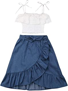 2Pcs Kids Baby Toddler Girl Sunflower Outfits Off Shoulder Crop Tops + Skirt Clothes Set