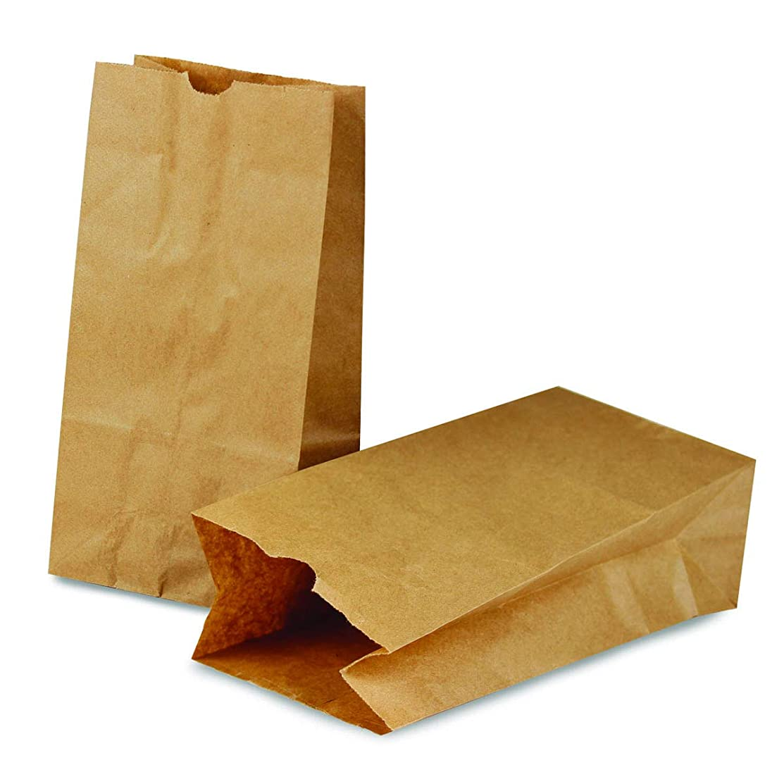 Hygloss Products Brown Paper Bags - Flat Bottom Kraft Lunch Bags - 4-1/4 x 2-1/4 x 8-3/16 Inch, 100 Pack