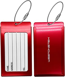 Pack of 2 Luggage Tags, Aluminum Metal Travel ID Tag Business Card Holder Name Address Identifier Labels Suitcase Label with Steel Cable for Baggage Bag, Red