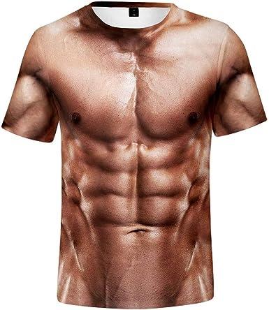 CJF Camiseta de los Hombres,Hombre Desnudo Sexy en Falso 3D ...