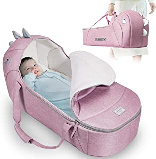 SUNVENO Portable Newborn Baby Carrycot, Folding Baby Travel Bed Ultra Soft Crib Lightweight Bassinet with Canopy and Handle Bed for 0-12 Months Newborn Babies
