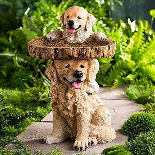 Shhjjyp Tazón De Baño para Pájaros De Poliresina para Jardín, Pedestal Marrón Hecho A Mano, Pedestal Marrón De Baño De Pájaros con Forma De Árbol Grande De Poliresina Hecho A Mano,Dog