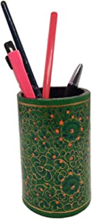 India Meets India Handmade Papier Mache Pen Holder Pencil Holder for Desk Organizer, Best for Gifting Made by Awarded/Certified Indian Artisians (Green)