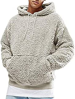 Mens Hoodies Teddy Fleece Pullover Sweatshirts Casual Fuzzy Fluffy Hoodie Solid Color Warm Stylish Pullover with Pockets C...