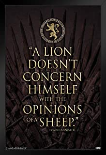 Pyramid America Game of Thrones Tywin Lannister Crest Lion Quote Black Wood Framed Art Poster 14x20