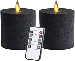 Only-us Flickering LED Flameless Candles Battery Operated with Remote Control Timers for Fireplace/Table Centrepiece/Halloween Black Pillar Candles 3x3 in Flat top 2pcs