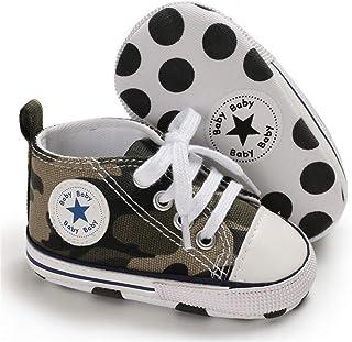 KIDSUN Unisex Baby Boy Girl Canvas Sneaker Soft Sole Ankle Infant First Walkers Crib Shoe