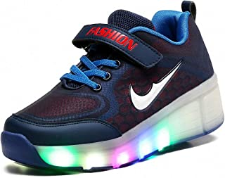 Unisex Kids Roller Skate Shoes,Vibration Illuminate Gymnastic Sneakers,Single Wheels Retractable