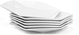 Yesland 6 Pack Geometric Serving Platter - 10 x 9 1/4 x 1 1/2 Inch - Porcelain Dinner Plates & Dinnerware Dish for Dinner, Salad, Restaurant, Family Party and Kitchen Use - Hexagon Shape