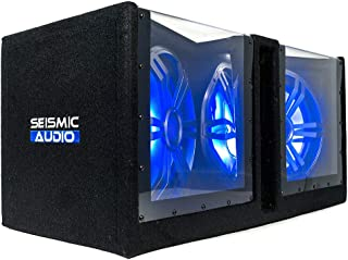 $174 » Seismic Audio - SA-PGSV12LED - Dual 12 Inch Vented 1200 Watt Car Audio Subwoofer Box with LED Lights & Plexiglass Window
