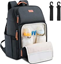 Baby Diaper Bag Backpack Large Multifunction Water Resistant Neutral Baby Bag for Mom Dad Lightweight Maternity Nappy Bag Travel Backpack with Insulated Pockets and Stroller Straps Black