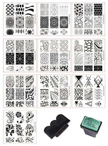 BeautyLeader Mix 10 Designs Nail Plates +1 Pcs Nail Art Stamper + 1 Scraper Nail Art Image Stamp Stamping Plates Manicure Template Nail Art Tools (A011-020)
