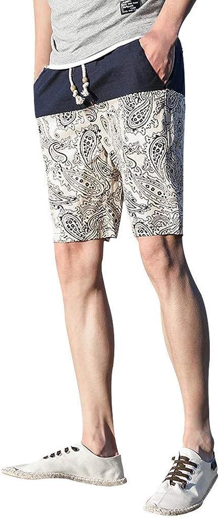 MODOQO Shorts Pants for Men-Summer New Ethnic Style Printed Loose Fit Cotton Hemp Beach Shorts