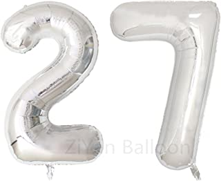 ZIYAN 40inch Silver Number 27 Balloon Party Festival Decorations Birthday Anniversary Jumbo foil Helium Balloons Party Supplies use Them as Props for Photos