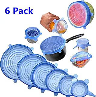 Tapas de silicona elásticas, Tapadera flexible extensible, reutilizable para proteger los alimentos, ajustables para diferentes tamaños y formas de recipientes - 6PCS (Azul)