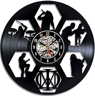 Qazqian Reloj de Pared Round Hollow CD Record Reloj de Pared Dream Theater Art Vinilo LED Reloj de Pared Habitación de Regalo Decoración de Registro en el hogar
