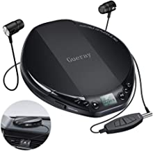 Portable CD Player Small CD Player for Car Portable High Resolution Lossless CD Discman Compact Disc Personal Walkman Player Shockproof Anti-Skip with Aux Cable in-line Control