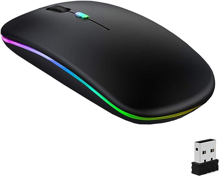 Mouse bluetooth geekerchip -  senza fili a due modalità (bluetooth 5.1+2.4g),3 livelli dpi(800/1200/1600) Mouse-2.4G+BT-Charge-LED-BK-CA