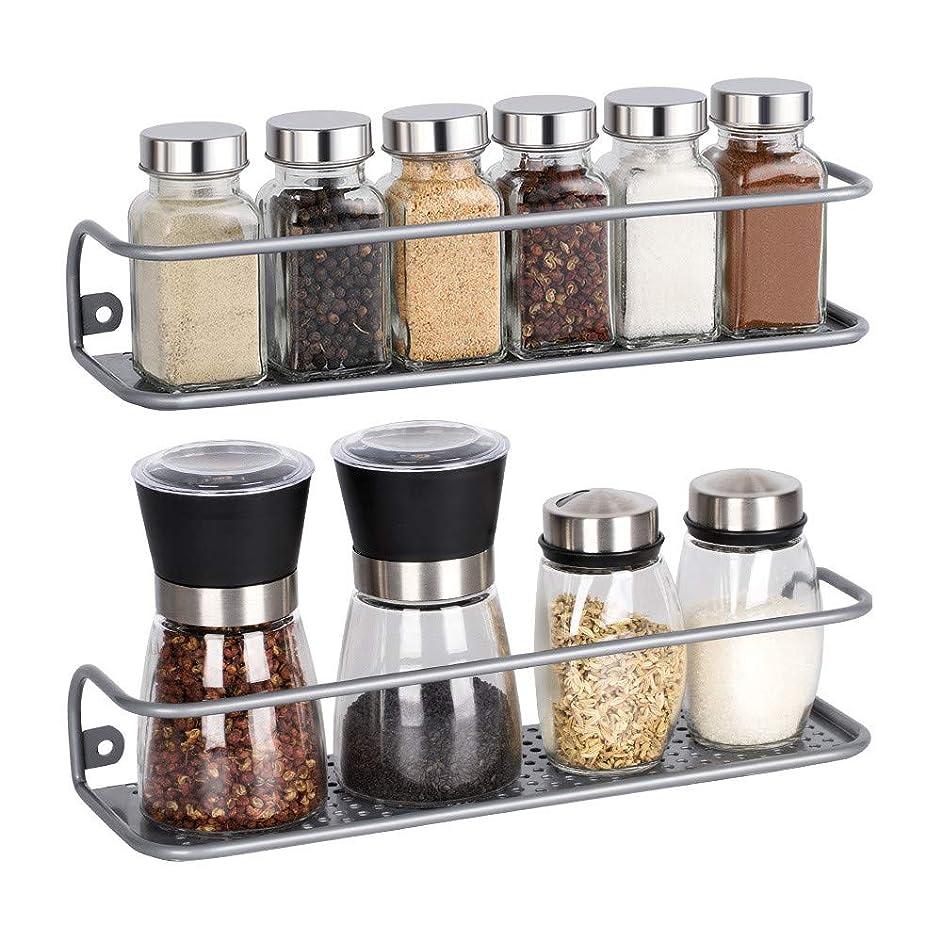 NEX Spice Racks Wall Mounted Jar Bottle Storage Rack 2 Pack for Kitchen Bathroom Cabinet Pantry Door, Sliver (Medium)