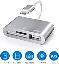 SD Card Reader, 3 in 1 Lighting to USB 3.0 OTG Female Adapter, Trail Game Camera Card Reader for Hunting, SD/TF Card Reader for iPhone/iPad, Plug and Play