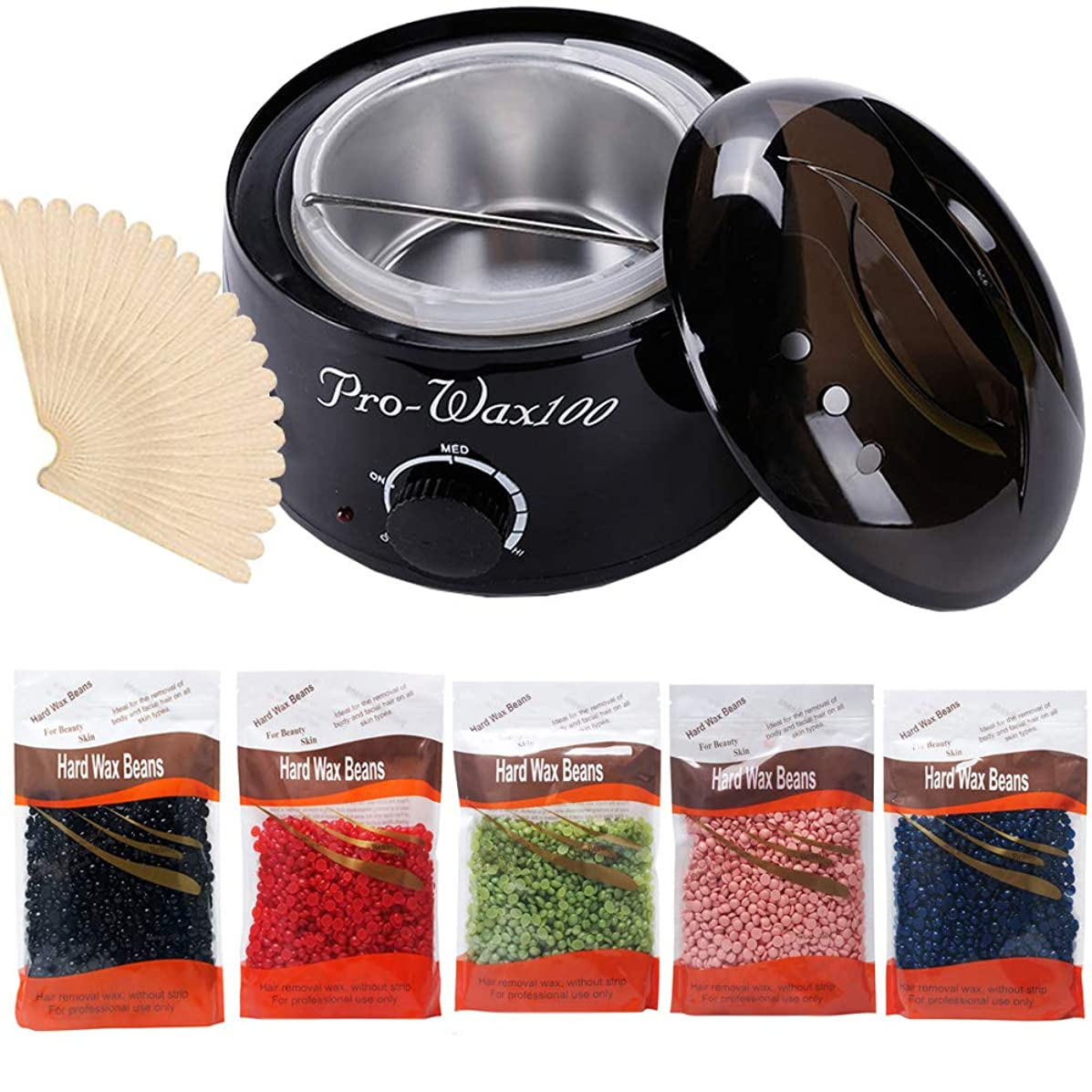 Hot Wax Warmer Cleaner Electric Waxing Kit for Body Foot Hand Skin Hair Removal Melting Pot Wax Machine with Hard Wax Beans Wax Applicator Sticks(Black)