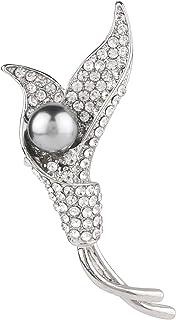 دبوس زينة الزفاف من Efulgenz مرصع بأحجار الراين واللؤلؤ على شكل قلب مجوهرات للفتيات والنساء هدية عيد الحب