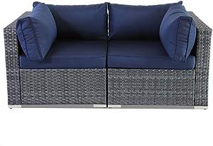 Patio Sofa Love seat Corner Sofa Set of 2 Gray PE Wicker Navy Cushion Fashion Color Rattan Sectional Sofa