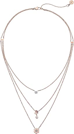 Michael Kors In Full Bloom Multi Strand Pendant Necklace