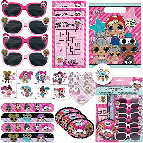 LOL Surprise Birthday Party Favor Pack For 8 Guests With Goodie Bags, Slap Bracelets, Tattoos, LOL Sun Glasses, Activity Sheets, MINI Notepad,Stickers, Maze Sheets, and Exclusive Pin by Another Dream