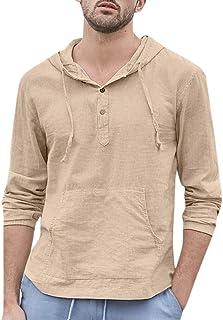 Camisetas Hombre Bolsos De AlgodóN Holgados De Lino Bolsillo A Rayas con Capucha Manga Larga Camisetas Retro Tops