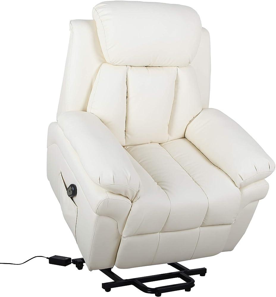 Homcom, poltrona reclinabile alzapersona elettrica per anziani con super imbottitura in ecopelle e telecomando IT713-013CW0631
