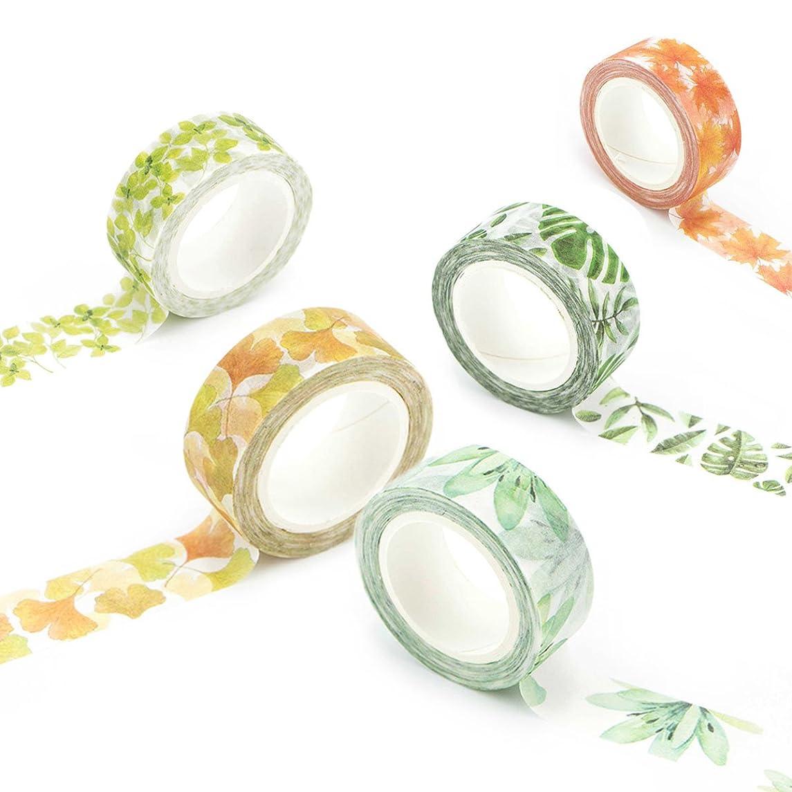 Washi Tape Set Masking Tape Art Crafty Rolls Decorate DIY Adhesive Paper Tape 15mmX7mm Floral/Leaf