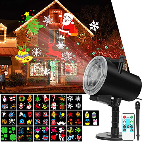 Christmas Holiday Lights Projector, Waterproof IP65 Outdoor Indoor Motion Remote Control 10W LED Projector, 16 Slides Holiday Light Party Outdoor Garden House Apartment Kids Room Night Light