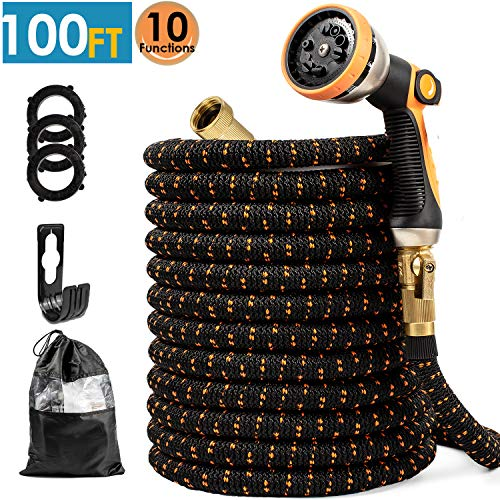 Upgraded Expandable Garden Hose 100 FT with 10 Function Nozzle, Strongest Four Layer Latex Core, All Solid No-Rust Brass Connectors - Easy to Use and Store, Lightweight Flexible Kink Free Water Hose