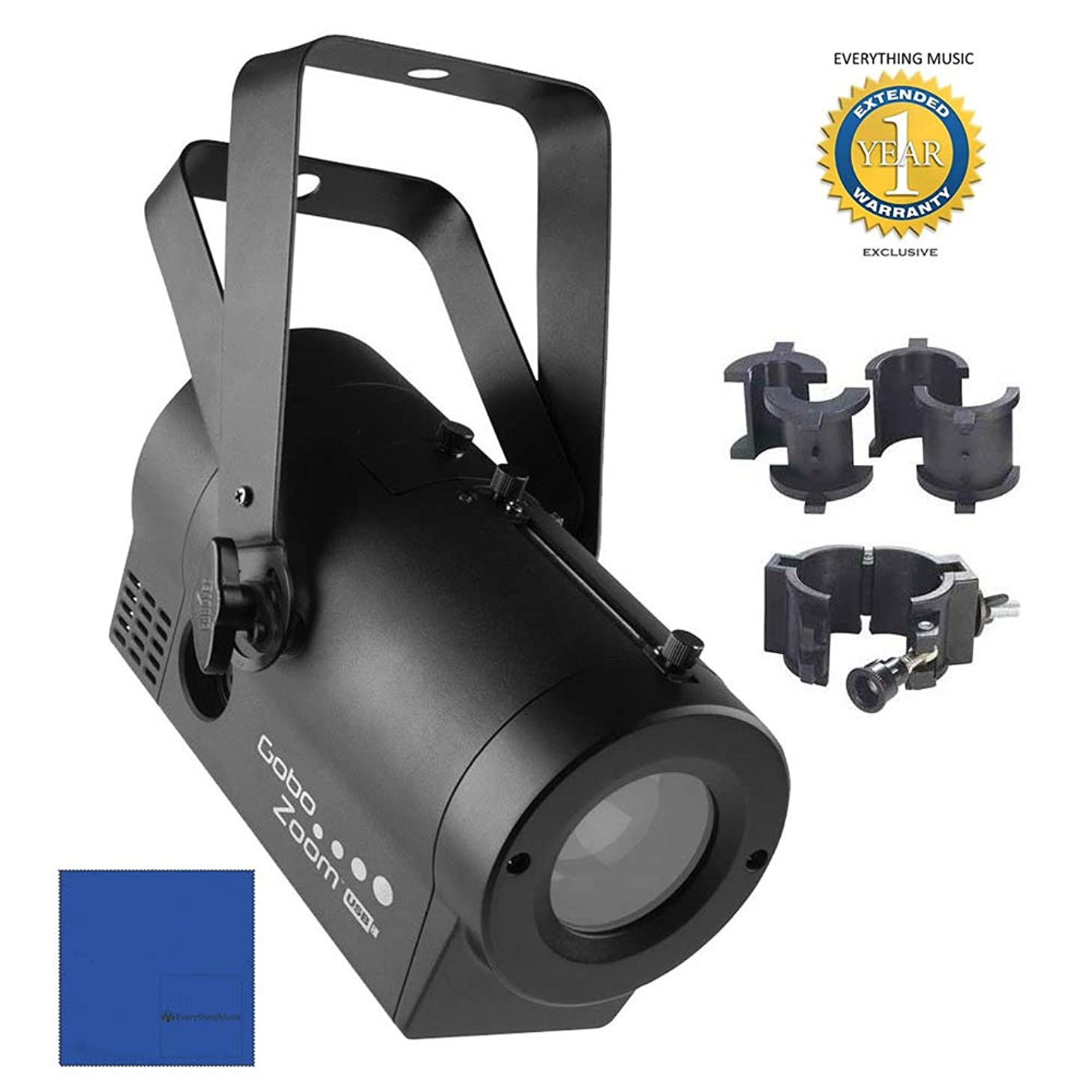 Chauvet DJ Gobo Zoom USB LED Gobo Projector Lighting Effects Fixture with CLP-10 Light-Duty Adjustable O Clamp?with 1 Year Free Extended Warranty?and?Microfiber