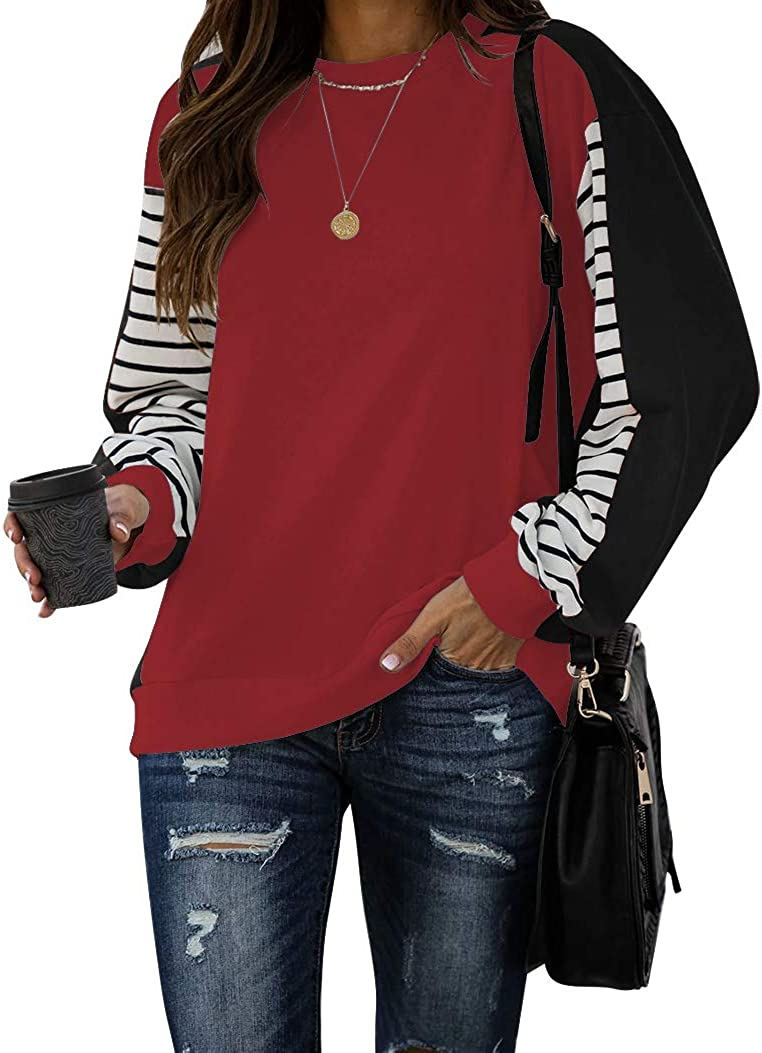 PRETTODAY Women's Color Block Tunic Tops Long Striped Sleeve Crew Neck Sweatshirts Casual Loose Tops