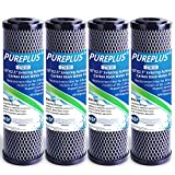 1 Micron 2.5' x 10' Whole House CTO Carbon Water Filter Cartridge Replacement for Countertop Water Filter System, Dupont WFPFC8002, WFPFC9001, FXWTC, SCWH-5, WHEF-WHWC, WHCF-WHWC, AMZN-SCWH-5, 4Pack
