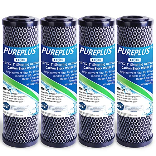 """PUREPLUS 1 Micron 2.5"""" x 10"""" Whole House CTO Carbon Water Filter Cartridge Replacement for Home Countertop System, Dupont WFPFC8002, WFPFC9001, FXWTC, SCWH-5, WHEF-WHWC, WHCF-WHWC, CTO10, T01, 4Pack"""