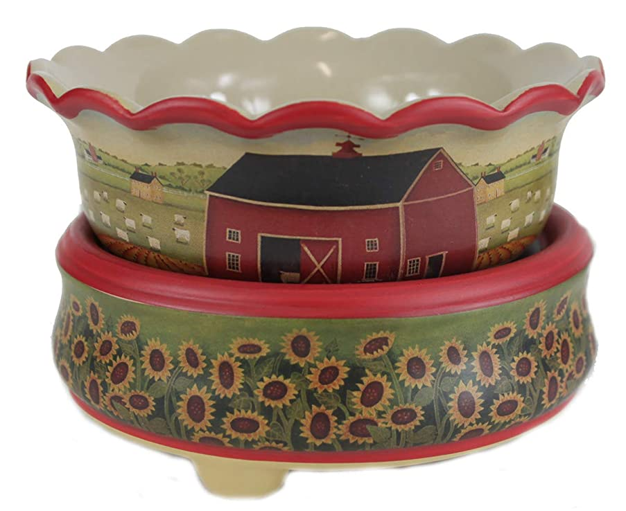 Wax Melts Warmer Candle Warmers for Scents Candles Scented Cubes Sunflower & Red Barn 2in1 Electric Warm Heater - Licensed Artwork Design Melt Bowl Flameless Plugin