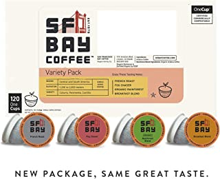 SF Bay Coffee Variety Pack 120 Ct Compostable Coffee Pods, K Cup Compatible including Keurig 2.0 (Packaging May Vary)