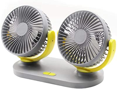 SXXDERTY Dual Heads Car Fan Mini USB Portable 3 Speed Cooling Air Fan Low Noise 360/° Rotating Free Adjustment