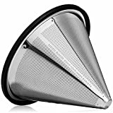 Barista Warrior Pour Over Coffee Filters - Reusable Stainless Steel - Hario V60 & Chemex Filters - Best Coffee Maker and Bar Accessories (Silver)