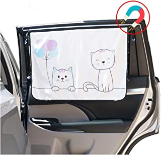 ggomaART Car Side Window Sun Shade - Universal Reversible Magnetic Curtain for Baby and Kids with Sun Protection Block Damage from Direct Bright Sunlight, Heat, and UV Rays - 1 Piece of Cat