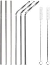 Fancyku Stainless Steel Straws for Drinking with Brushes (3 Bent + 3 Straight + 2 Brushes)