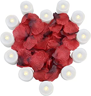 obmwang Pack of 12pcs Realistic Flameless LED Tea Light Candles and 1000pcs Dark Silk Rose Petals Artificial Red Rose Flower Petals, Ideal for Valentine's Day, Proposal, Wedding, Anniversary, Honeymoo