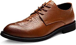 AiHua Huang Oxfords for Men Round Toe Business Casual Loafers Chic Classic Lace Up Formal Dress Shoes Genuine Leather Embossed Non-Slip (Color : Brown, Size : 6 UK)