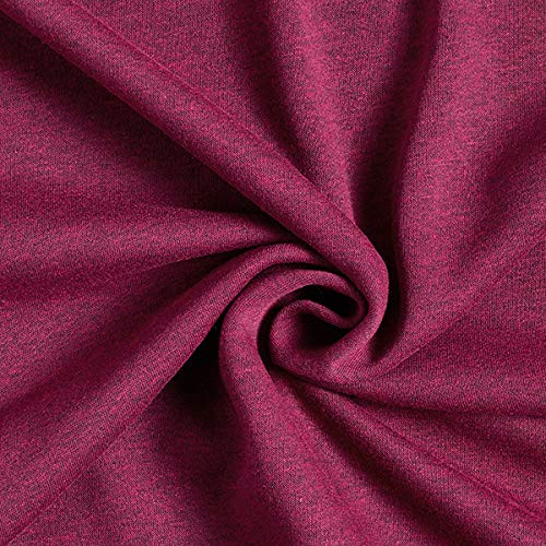 Fabulous Fabrics Sweatshirtstoff angeraut Melange – Rotviolett — Meterware ab 0,5m — Oeko-Tex Standard 100 Produktklasse I — zum Nähen von Sweatshirts, Hosen und Jacken