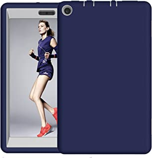 Fire HD 8 2017 Case, Hocase Hybrid Dual Layer Shock Absorbent Silicone Bumper Hard PC Protective Case for All-New Fire HD 8 Tablet (7th Generation, 2017 Release) - Navy Blue/Grey